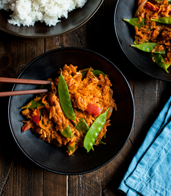 Curried Peanut Sweet Potato Noodles -- Gluten Free and Vegan!