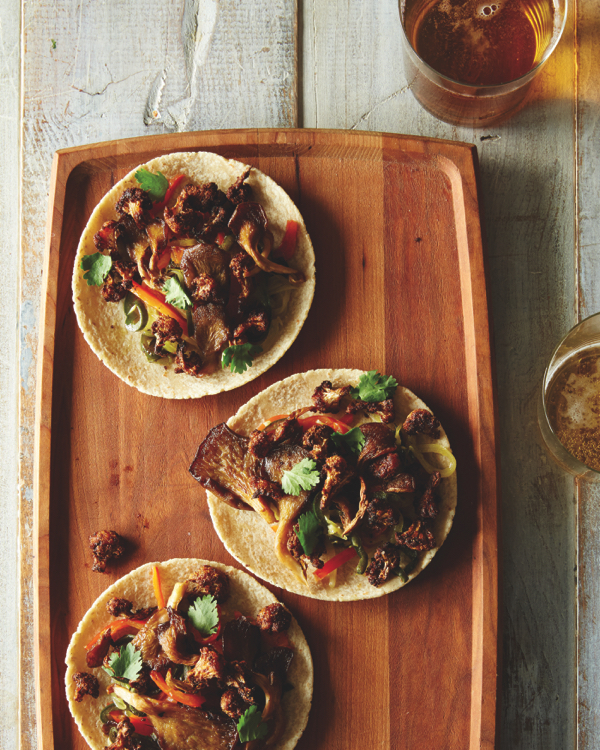 Cauliflower and Oyster Mushroom Tacos from Food52 Vegan (gluten free)