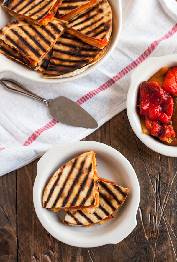 Sweet potato and roasted red pepper quesadillas
