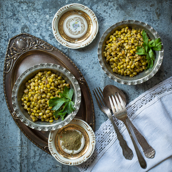 mung bean salad with Lemon Zhoug Vinaigrette