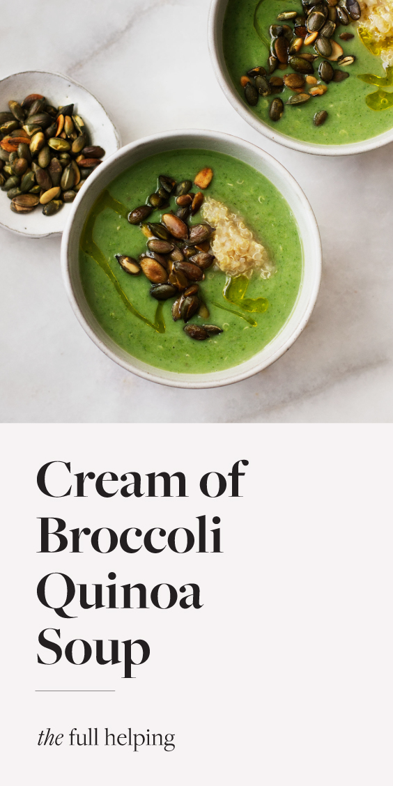 Cream of broccoli quinoa soup is a delicious way to get your broccoli! This #vegan soup is completely free of dairy, but it has a luscious, creamy texture. Cooked quinoa and toasted seeds add nutrition and will help to keep you satisfied.