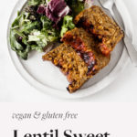 This #plantbased lentil sweet potato loaf is a nutrient dense spin on traditional meatloaf! Made with sweet potatoes, lentils, and rolled oats, it's packed with good nutrition. A perfect dish for your holiday table.