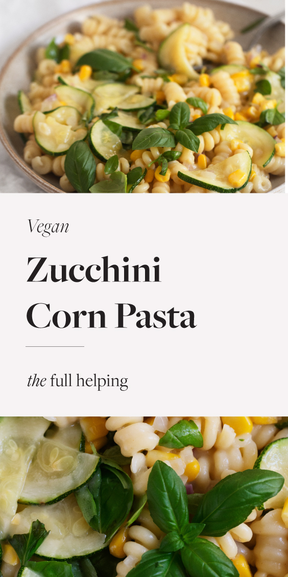 This creamy #vegan pasta is a wonderful way to celebrate corn season. Made with simple ingredients, it's full of vegetables and the bright flavor of fresh basil. Can be adapted to be #glutenfree, too! #vegetarian #dairyfree #vegandinner #plantbased