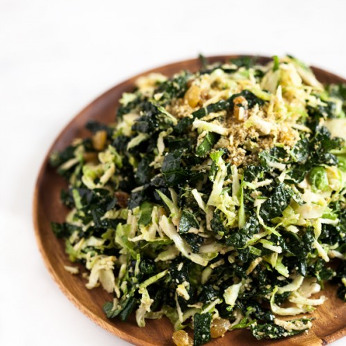 Shaved Brussels Sprout and Kale Salad with Lemon Maple Dressing and Hemp and Pumpkin Seed Parmesan | A complex, flavorful fall and winter salad -- perfect for holiday entertaining | The Full Helping