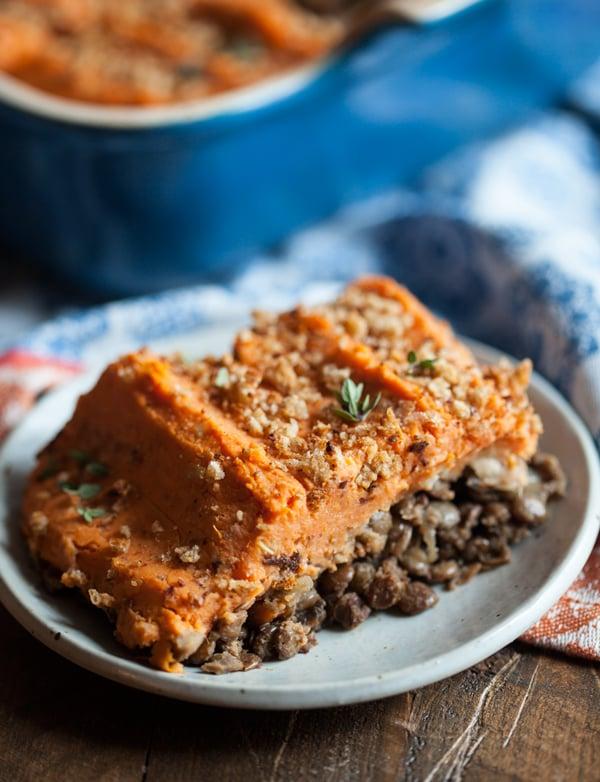 Vegan Sweet Potato and Lentil Shepherd's Pie | Homemade Vegan Thanksgiving Recipes For A Healthful Celebration