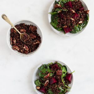 Roasted Beet, Baby Spinach, and Toasted Quinoa Salad