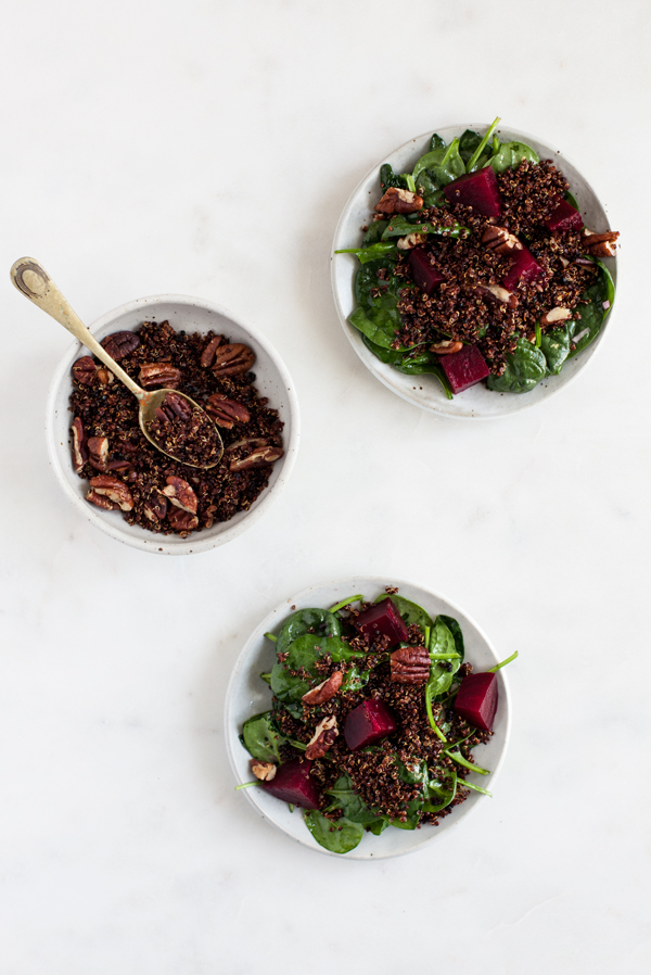 Roasted Beet, Baby Spinach, and Toasted Quinoa Salad   The Full Helping