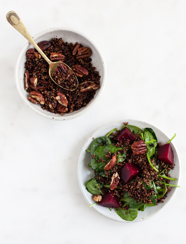 Roasted Beet, Baby Spinach, and Toasted Quinoa Salad | The Full Helping