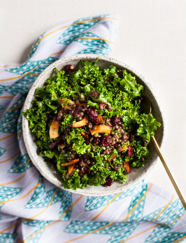 Festive Kale Salad with Cranberries, Lentils, and Coconut Bacon | The Full Helping