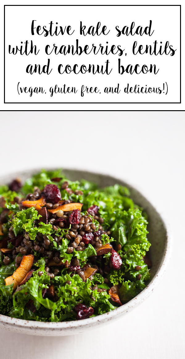 Festive Kale Salad with Cranberries, Lentils, and Coconut Bacon -- #vegan, #glutenfree, and delicious!   The Full Helping