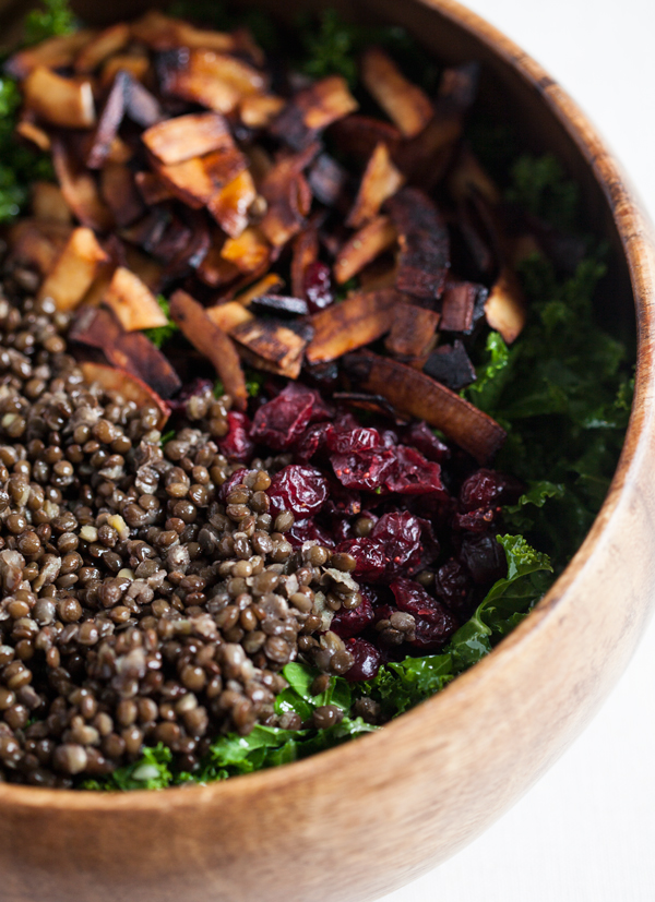 Festive Kale Salad with Cranberries, Lentils, and Coconut Bacon   The Full Helping