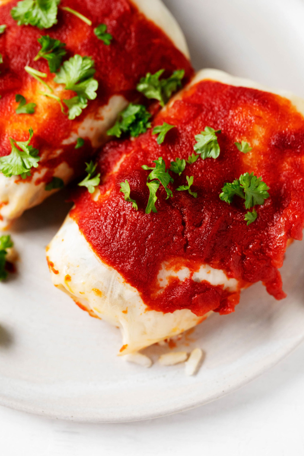 Two stuffed cabbage rolls have been garnished with fresh, chopped parsley and a tomato-based sauce. They're laid out on a white serving plate.