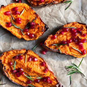 Twice Baked, Stuffed Sweet Potatoes with Macadmia Ricotta