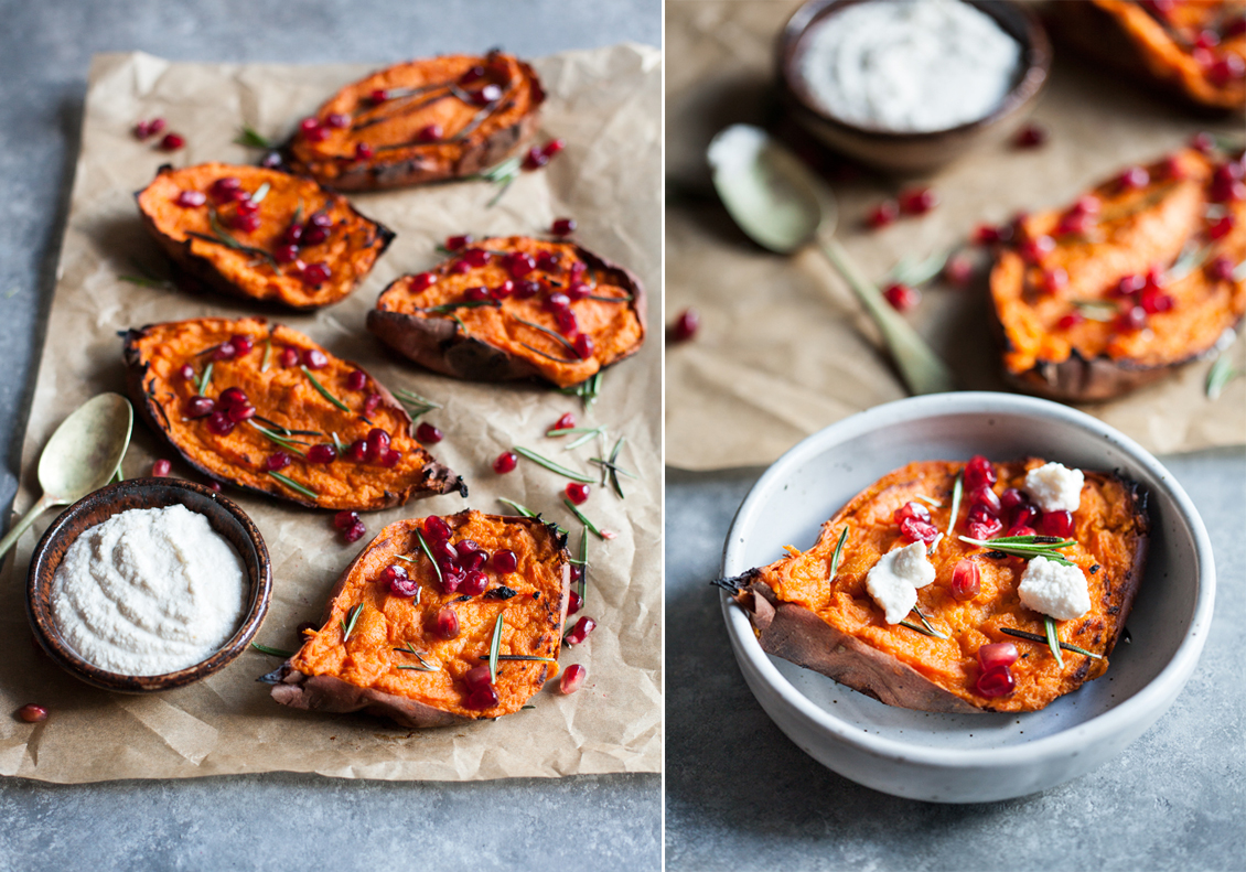 Twice baked, stuffed sweet potatoes with creamy macadamia ricotta: a decadent and festive #vegan side dish! | The Full Helping