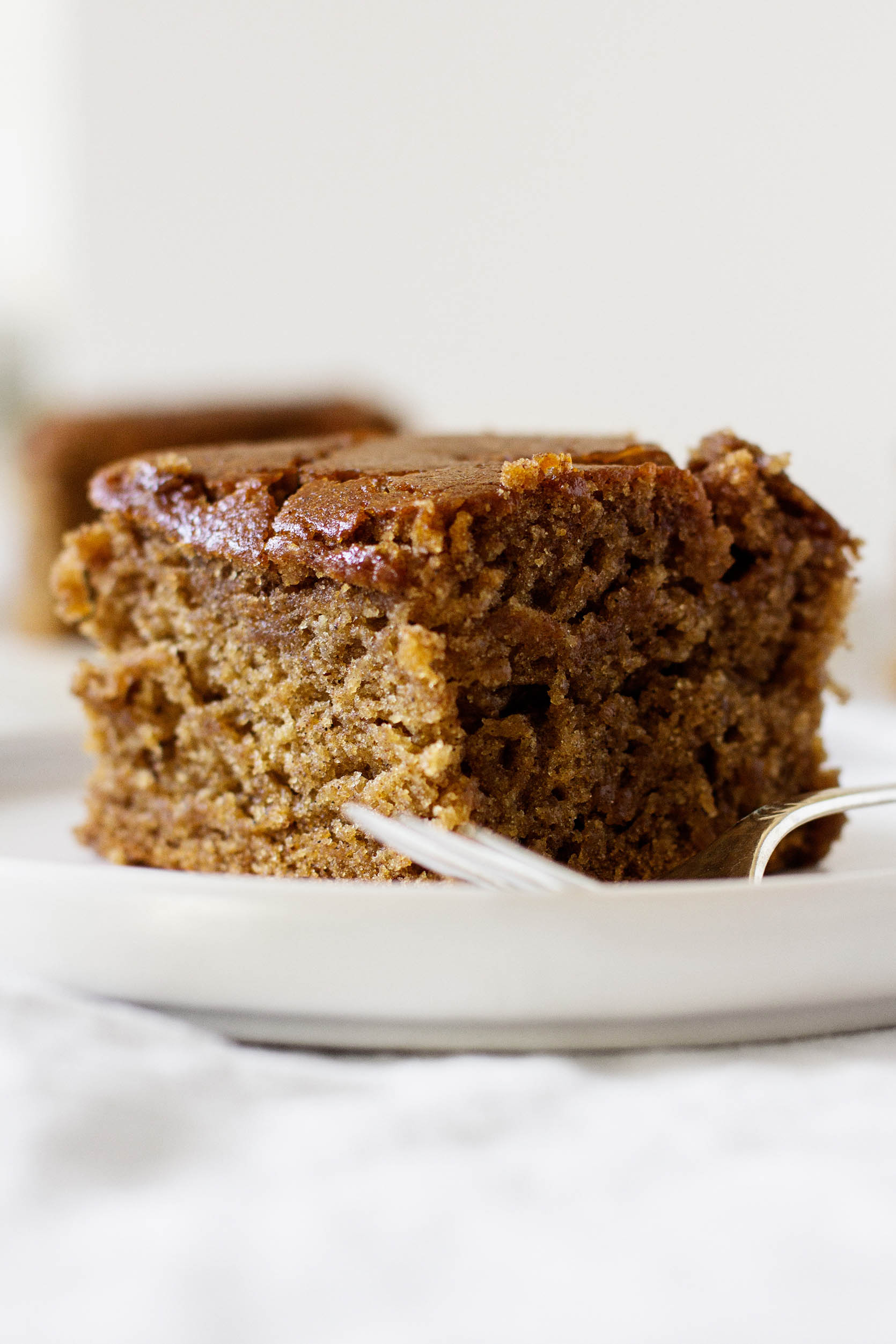 A zoomed in photograph of a vegan holiday cake, accompanied by a small serving fork.