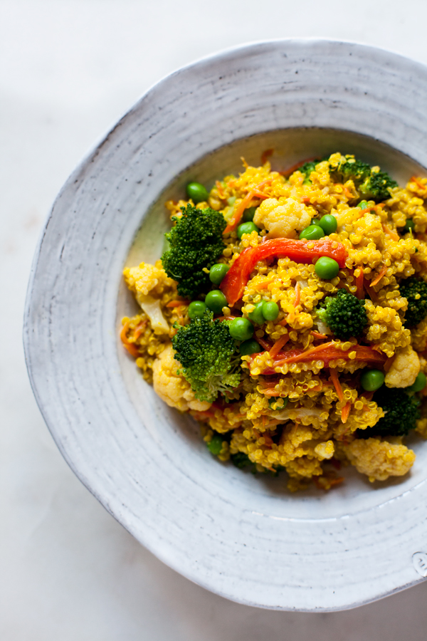 Creamy Curried Quinoa: a fast, easy #glutenfree #vegan dinner!   The Full Helping