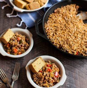 Pinto Bean Skillet Bake with Spicy Sunflower Oat Topping