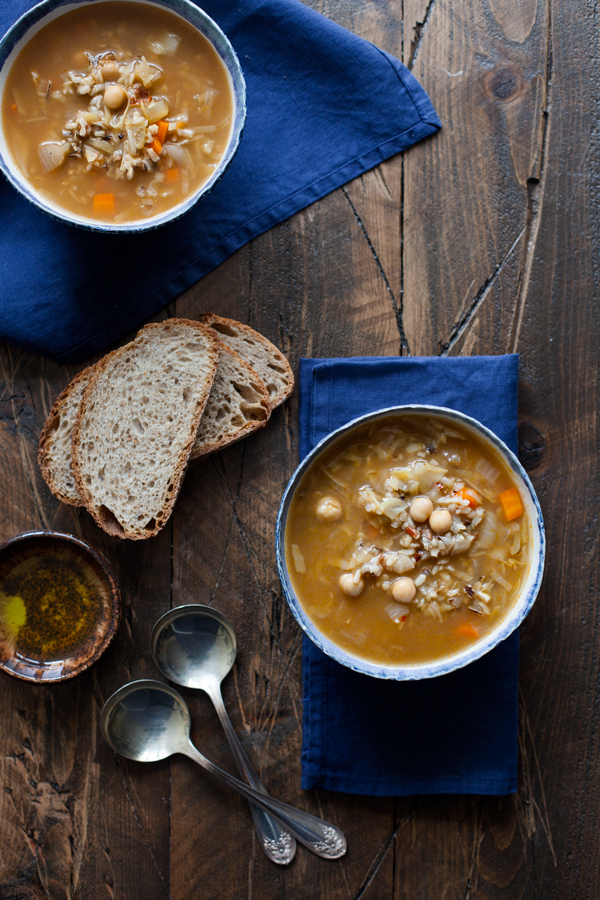Rustic Cabbage, Chickpea, and Wild Rice Soup