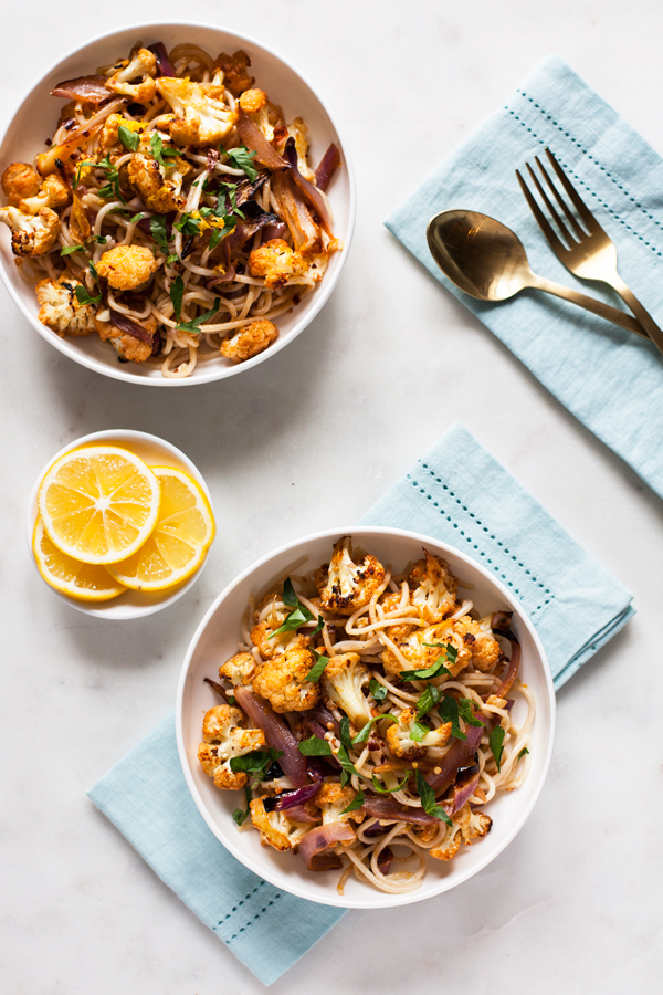 Spicy Roasted Cauliflower Lemon Pasta: A quick and flavorful vegan dinner   The Full Helping