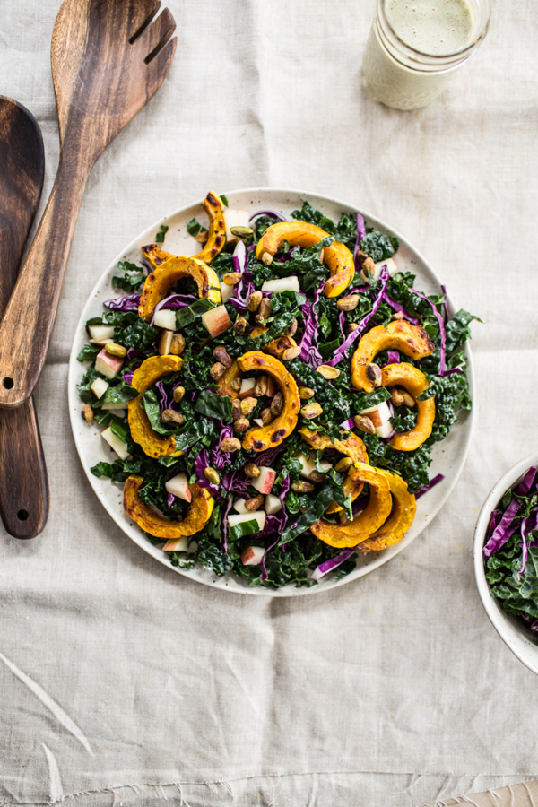 Kale+Salad+with+Roasted+Delicata+Squash+and+Orange+Maple+Hemp+Dressing+-+edibleperspective