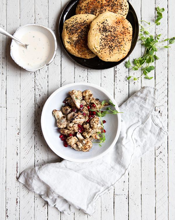 cauliflower+shawarma+++homemade+(gf+df)+chickpea+pita+bread+-+what's+cooking+good+looking
