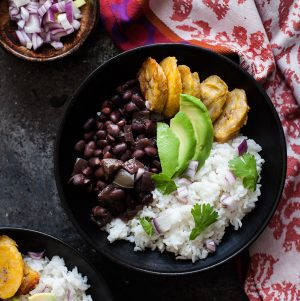 Cuban Black Bean and Cilantro Lime Rice Bowls with Baked Plantains | The Full Helping