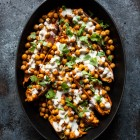 Tandoori Chickpea Stuffed Sweet Potatoes with Tahini Lime Drizzle | The Full Helping