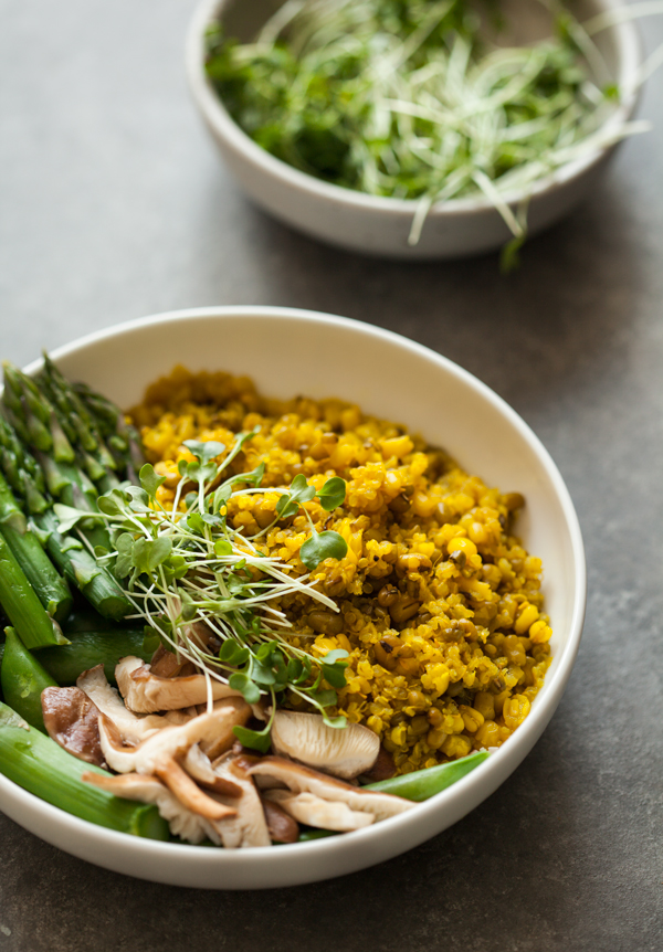 Mung Bean & Quinoa Bowls with Spicy Ginger Turmeric Broth   The Full Helping