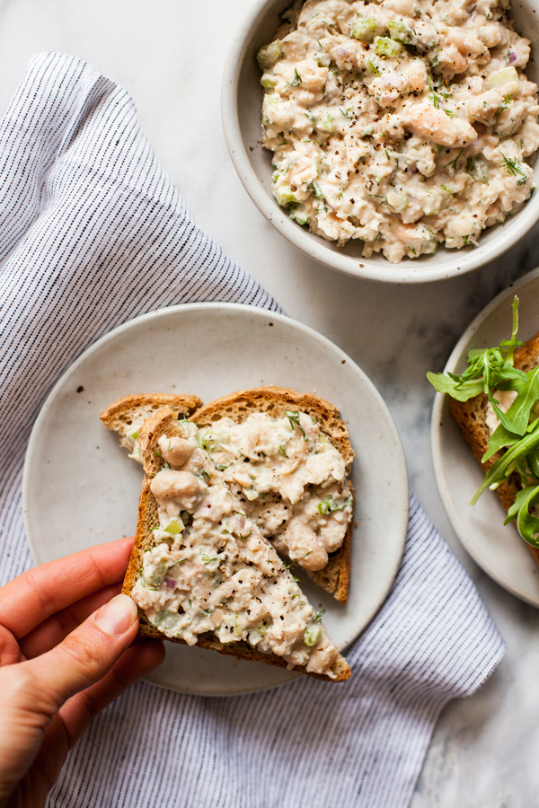 Smashed Garlic Tahini White Bean Salad on Toast | The Full Helping