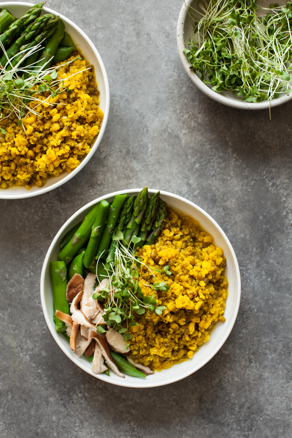 Mung Bean & Quinoa Bowls with Spicy Ginger Turmeric Broth | The Full Helping