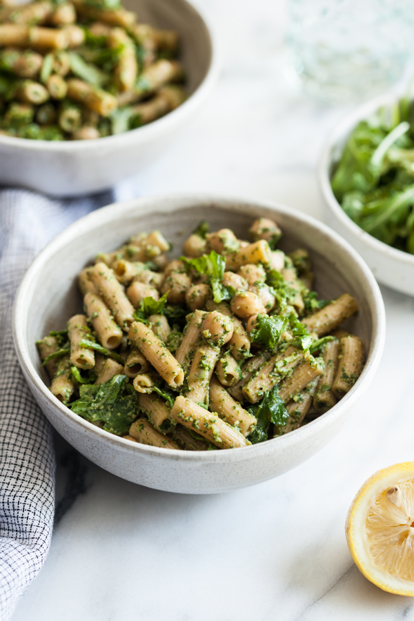 Chickpea Pesto Pasta Salad | The Full Helping