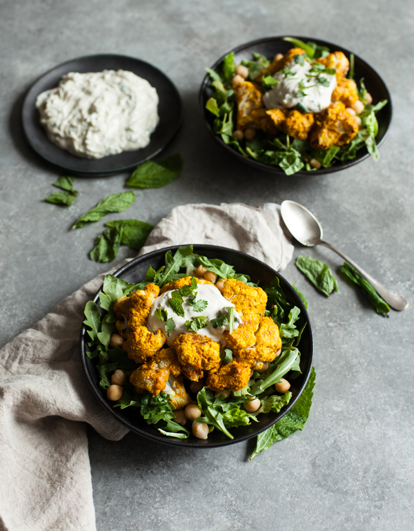 Tandoori Cauliflower Chickpea Bowls with Creamy Cashew Raita | The Full Helping