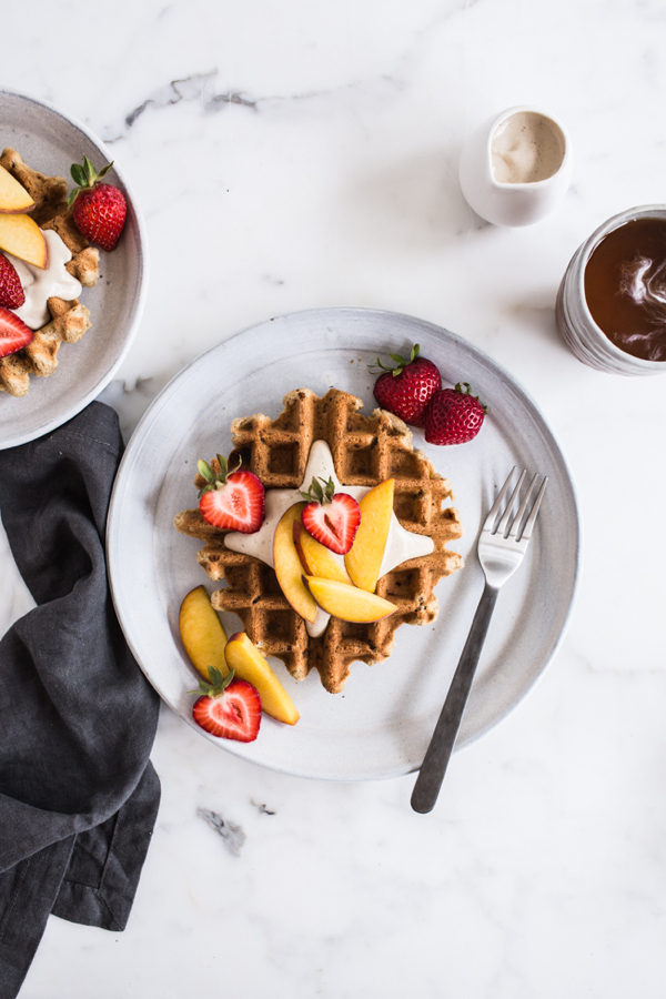 Vegan+Vanilla+Waffles+with+Vanilla+Maple+Cashew+Cream+-+Edible+Perspective