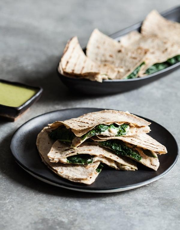 White Bean Artichoke Kale-sadillas with Green Herb Dipping Sauce | The Full Helping