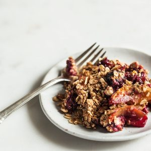 Berry Peach Chickpea Flour Breakfast Crisp