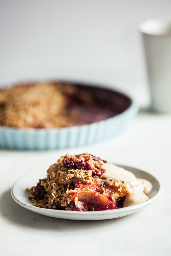 Berry Peach Chickpea Flour Breakfast Crisp | The Full Helping
