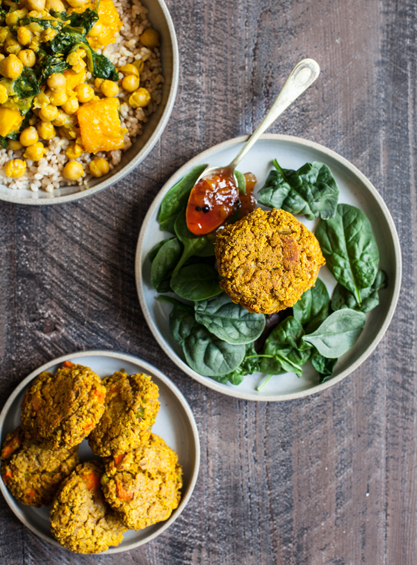Curried Lentil Vegetable Cakes | The Full Helping