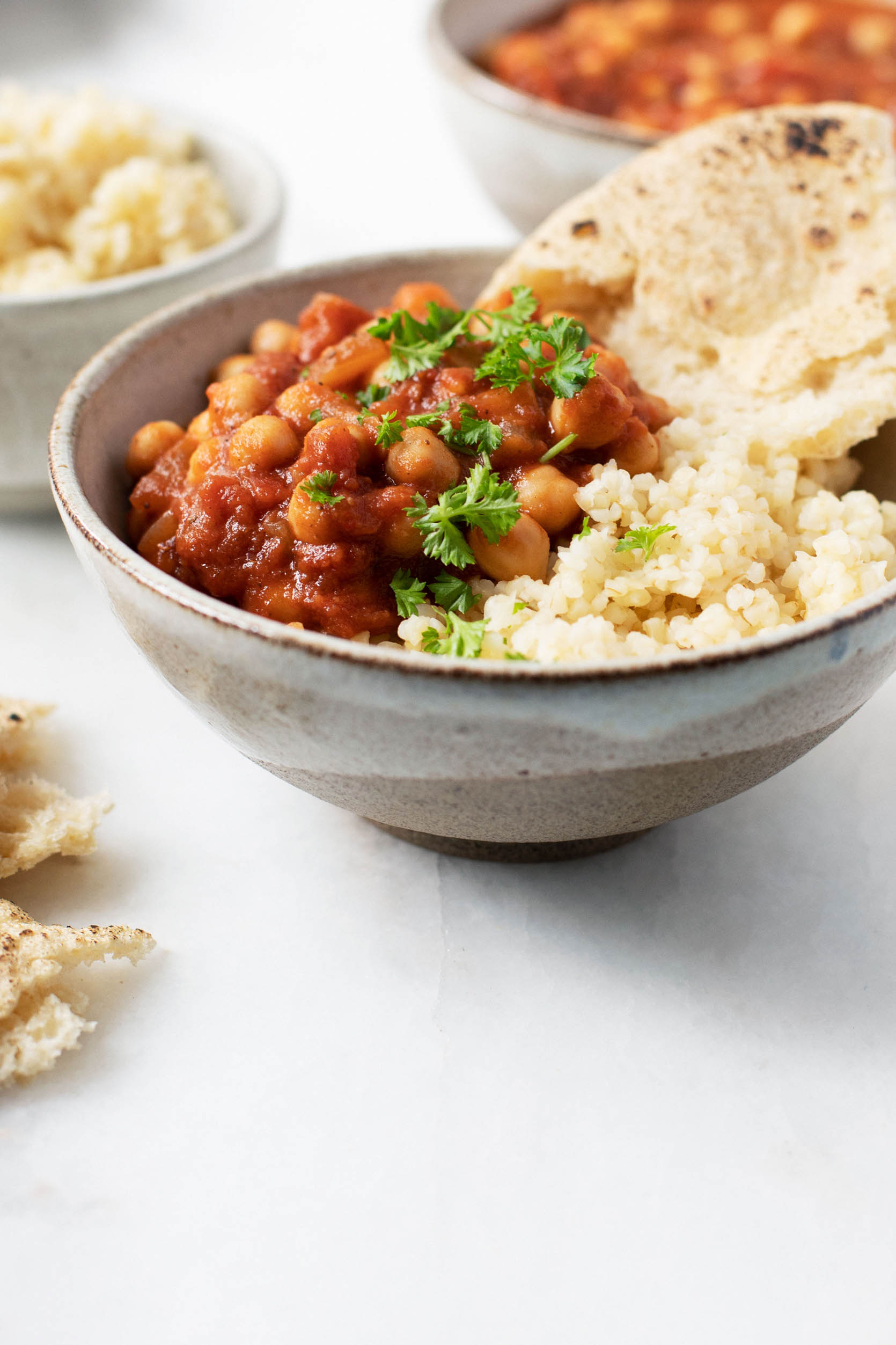 Moroccan Chickpea Tomato Stew Close Up | The Full Helping