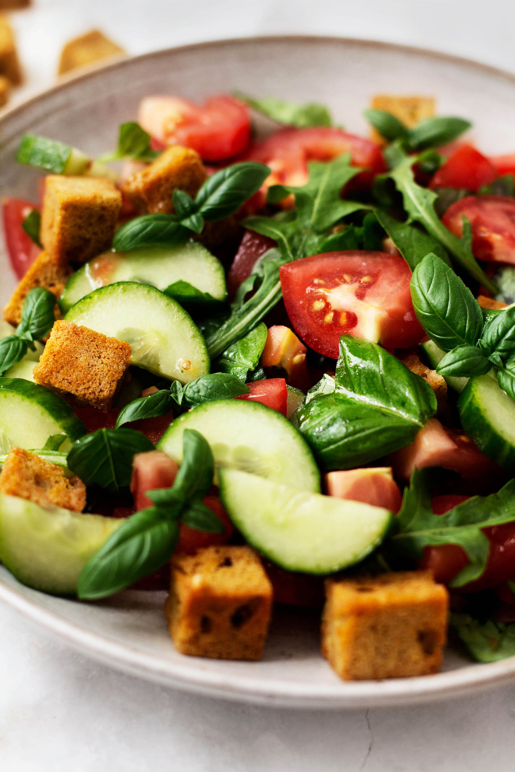 Vegan cornbread panzanella closeup