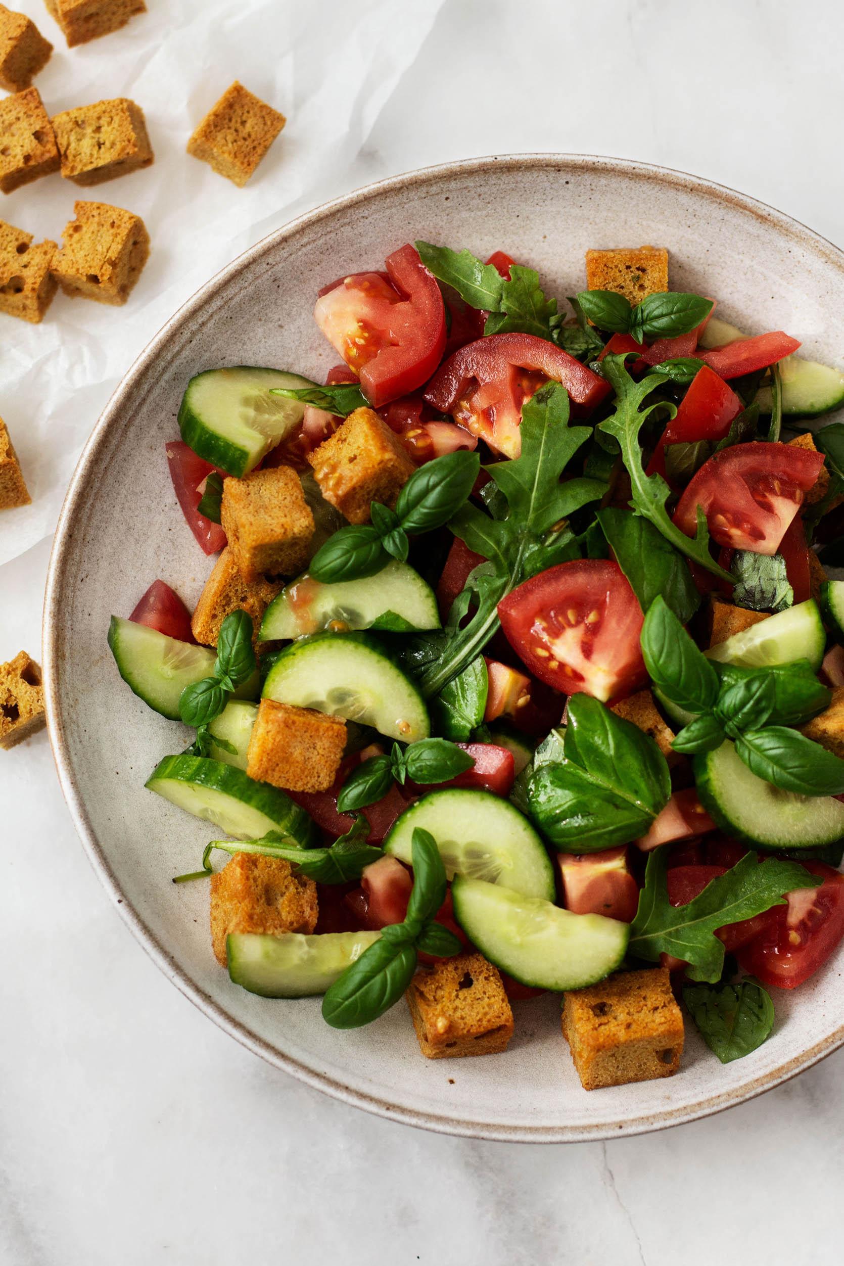 Vegan cornbread panzanella salad   The Full Helping