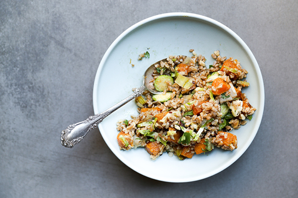 ... salads. Liz's farro salad with butternut squash, brussels sprouts