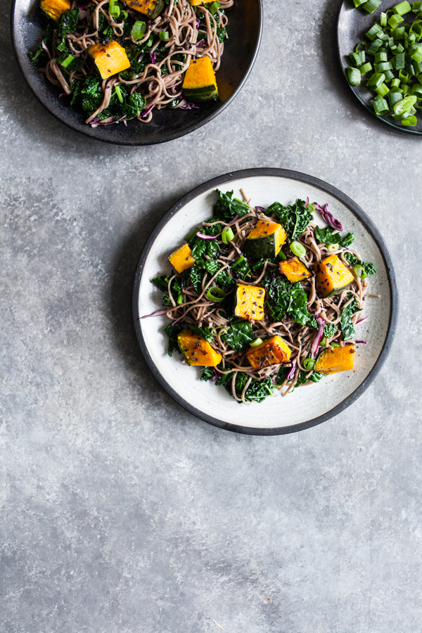 Kabocha & Kale Miso Sesame Soba Salad | The Full Helping