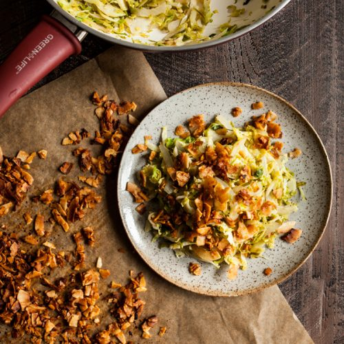 Brussels Sprout Hash with Coconut Bacon | The Full Helping
