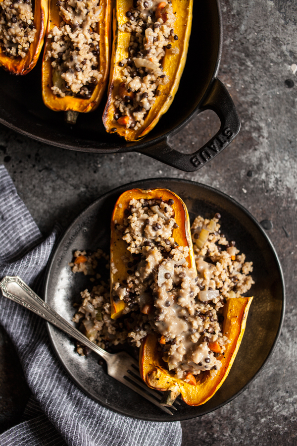 Millet & Black Lentil Stuffed Delicata Squash | The Full Helping