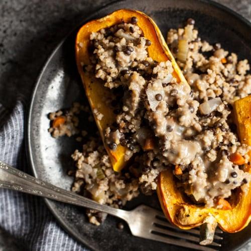 Millet & Black Lentil Stuffed Delicata Squash | The Full Helping
