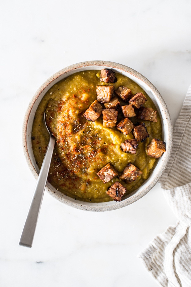 Vegan Split Pea Soup with Smoky Tempeh Croutons | The Full Helping