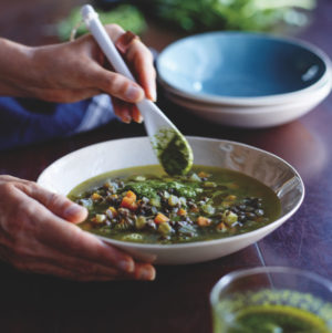 Tess Masters' Gentle Lentils with Basil-is-the-Bomb Sauce