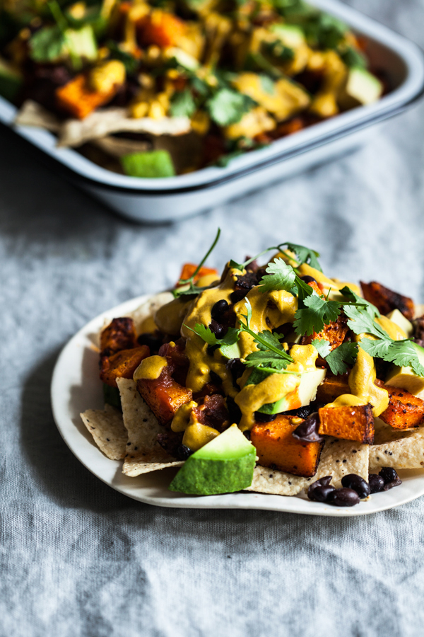 Vegan Butternut Black Bean Nachos | The Full Helping