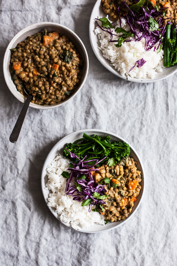 Creamy Coconut Curried Green Lentils | The Full Helping
