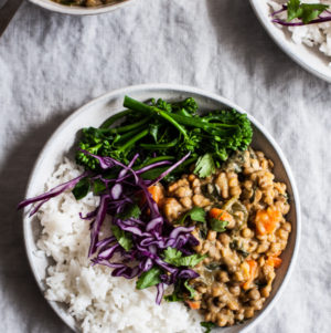 Creamy Coconut Curried Green Lentils (& Bowls)